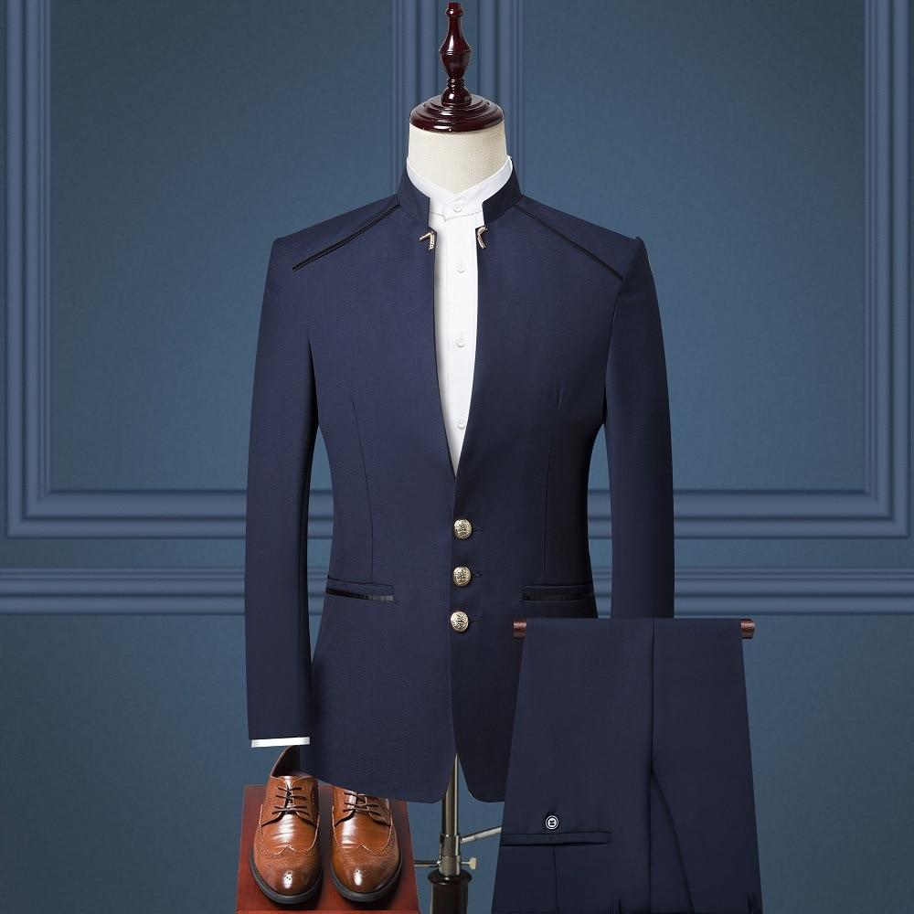 Autumn And Winter Fashion MEN'S Business Suit Slim Fit Three-piece Set British Style Stand Collar Sun Yat-sen Costume Formal Dre
