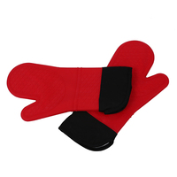 Promotion! 2pcs Red Silicone Kitchen Oven Mitt Glove Potholder with Extra Long Canvas Sleeve Stitching for Grilling and BBQ /bar|Oven Mitts & Oven Sleeves|Home & Garden -