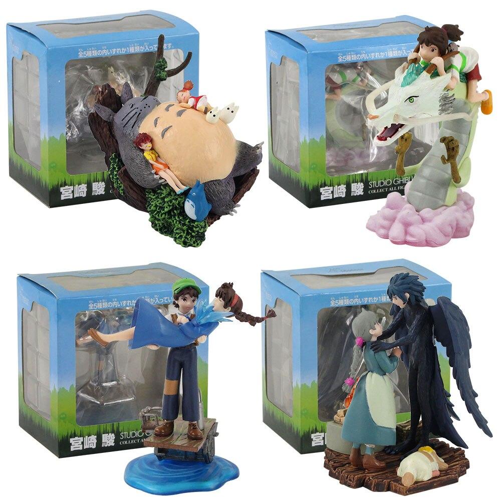 4pcs/set Japan Anime Figure Toys Totoro Ogino Chihiro Castle In The Sky Pasu Sheeta Howl's Moving Castle Howl Sophie Movie Dolls