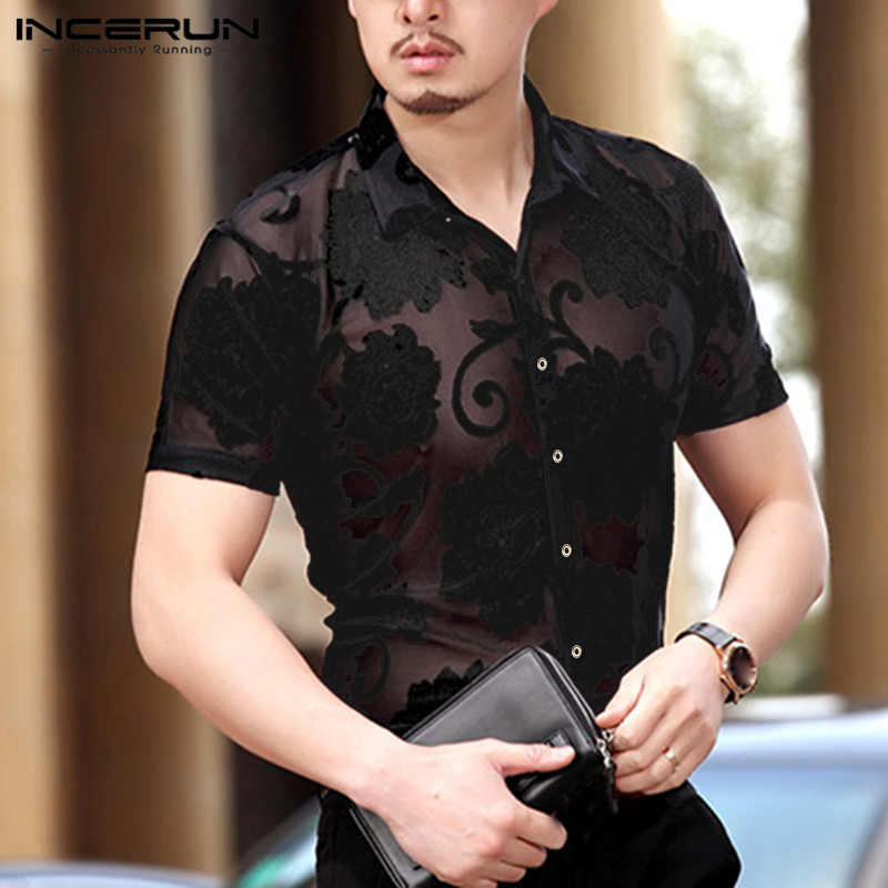 Stylish Men Mesh Shirt Printed Sexy Lapel Slim Short Sleeve See Through Dress Shirts Men Clubwear Party Camisa INCERUN S-5XL 7