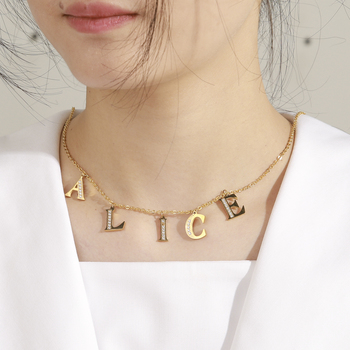 Lucktune Initial Letter  Personalized Custom Name Necklace For Women Girls Zircon Stainless Steel Choker Necklaces  Bijoux Femme real sterling silver initial letter amour necklace red coral shell choker zircon name pendant for women brand monaco jewelry