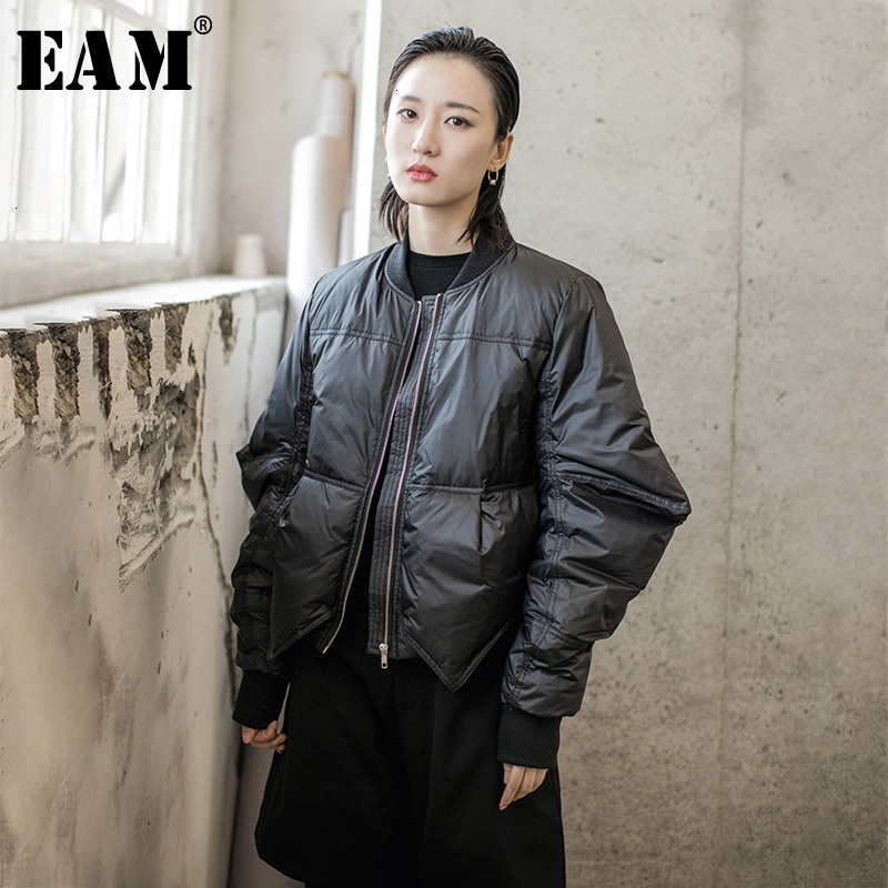 [EAM] Loose Fit Big Size Down Jacket New Stand Collar Long Sleeve Warm Women Parkas Fashion Tide Spring Autumn 2020 1H291