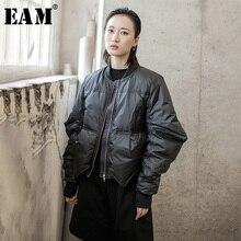 [EAM] سترة فضفاضة تناسب حجم كبير أسفل جديد الوقوف طوق طويل الأكمام الدافئة المرأة سترات الموضة المد الربيع الخريف 2020 1H291