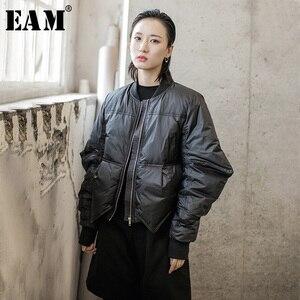 Image 1 - [EAM] سترة فضفاضة تناسب حجم كبير أسفل جديد الوقوف طوق طويل الأكمام الدافئة المرأة سترات الموضة المد الربيع الخريف 2020 1H291