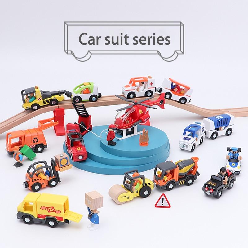 Diecast Car And Brio Track Compatible Track Train Multi-purpose Magnetron Inertial Track Accessories Children's Toy Gift