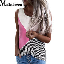 2021 Summer New Ladies Round Neck Contrast Stitching Stripe Tops Fashion Loose Casual Plus Size Vest Sleeveless Women's T-Shirt