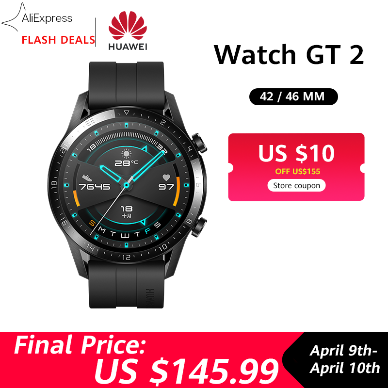 10$ Coupon Global Version HUAWEI Watch GT 2 GT2 GPS 14 Days Waterproof Phone Smart Call Heart Rate Tracker For Android IOS
