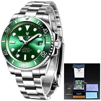 2021 LIGE New Watch Men Automatic Mechanical Tourbillon Clock Fashion Sport Diving Watch 100ATM Waterproof Luminous Watches Mens 6