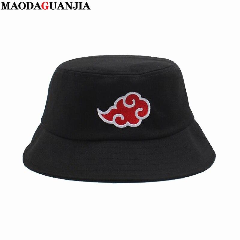 Naruto Akatsuki-Sombrero bordado con logotipo de nube roja para hombre y mujer, gorra de cubo de Panama, gorra de pescador con visera plana de diseño