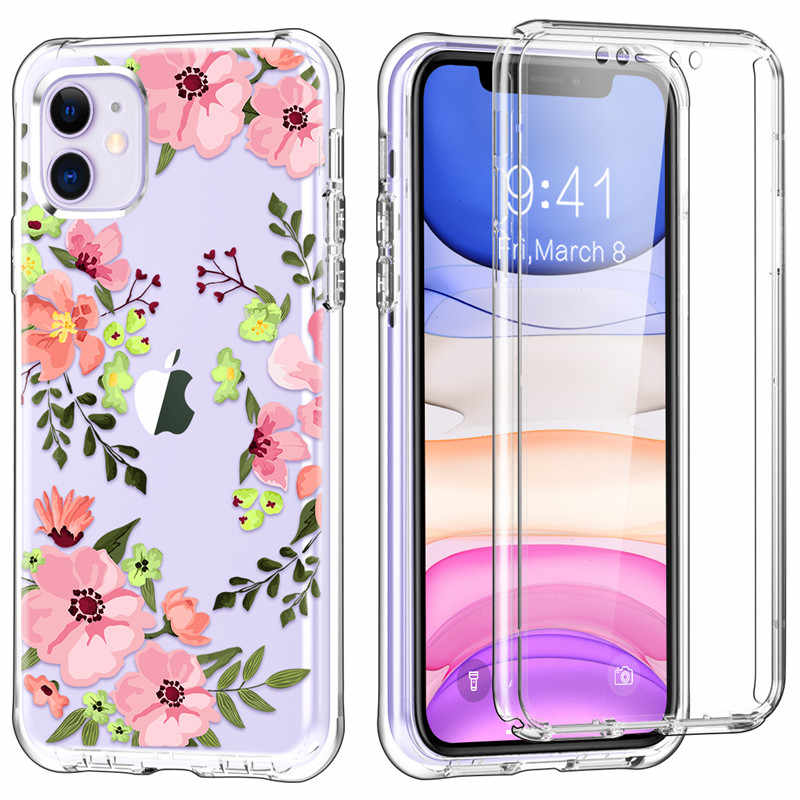 Untuk iPhone 11 6.1Inch Case,360 Penuh Perlindungan Dual-Layer Kasar Built-In Screen Protector Glass Case