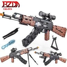 BZDA Military PUBG Airguns Hunting AK-47 Assault Rifle Building Blocks MOC Fames Rifle Guns Bricks Boys Toys Christmas Gifts