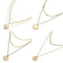 Vintage plusieurs couches colliers en acier inoxydable colliers femmes chaîne collier pièce lune Long collier femmes collier bijoux