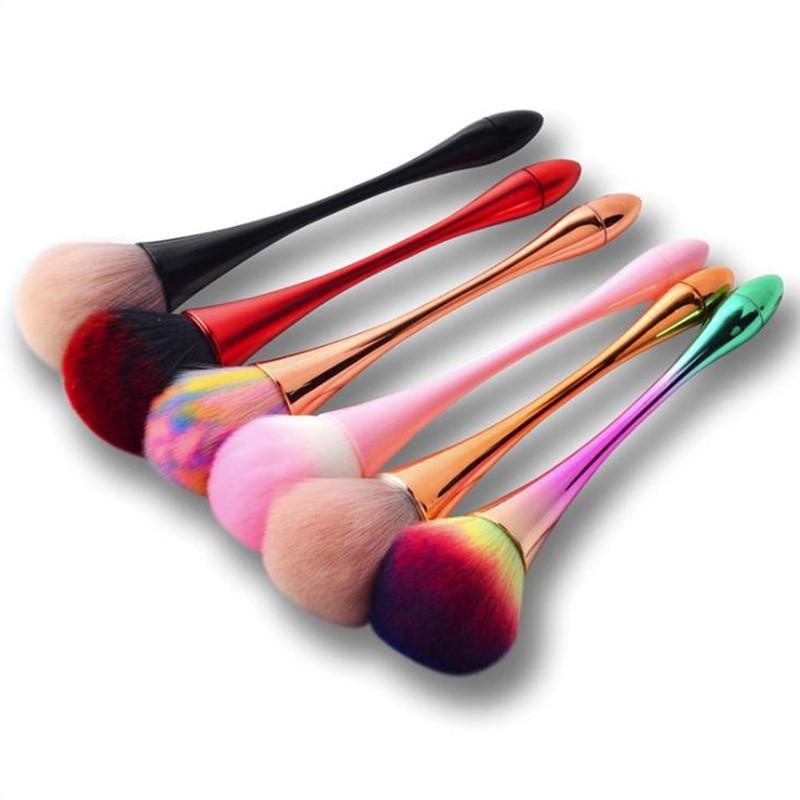 1pc escova de maquiagem em pó rosa arco-íris dourado profissional escovas kolinsky para maquiagem unha arte manicure poeira limpeza