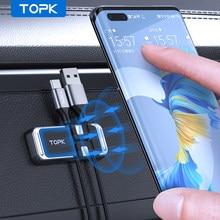 TOPK Support de téléphone de voiture magnétique Support pour iPhone 12 Pro Max Support magnétique avec pince à fil Support de téléphone portable universel