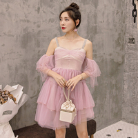 YIGELILA New Arrivals Purple Mesh Dress Romantic Square Collar Flare sleeves Dress Sparghetti Strap Backless Cake Dress 65061