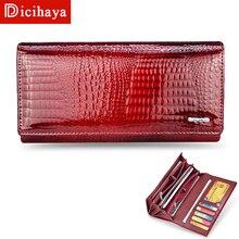 DICIHAYA Genuine Leather Womens Wallets Leather Long Ladies Double Zipper Wallet Clutch Bag Design Purse Crocodile Purses AE501