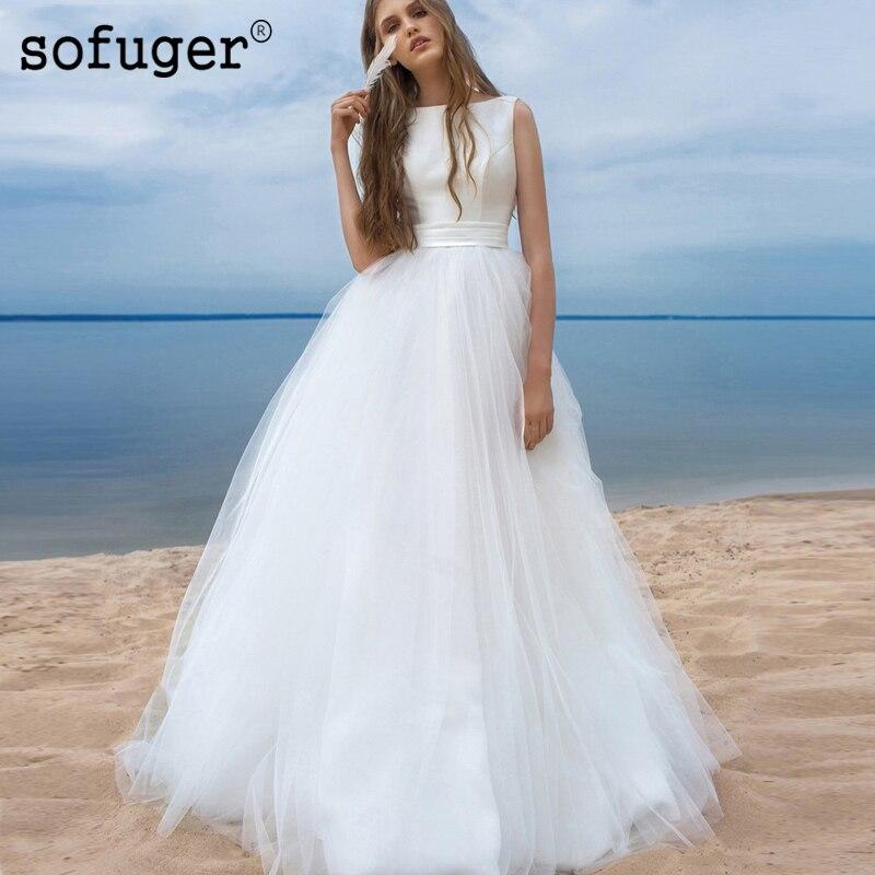 Robe De mariée blanche ivoire Simple dentelle Scoop Satin Top Robe De Mariee Sofuge Dubai arabe Abiti Da Sposa dos nu Tulle noeud plissé