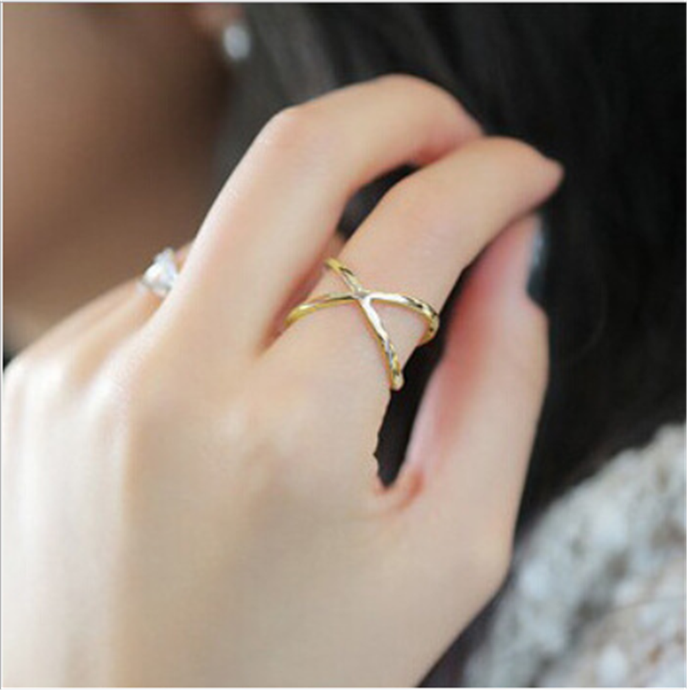 GW New X cross stereo cutout around ladies ring Fashion woman gold ring silver ring Personality woman ring jewelry wholesale