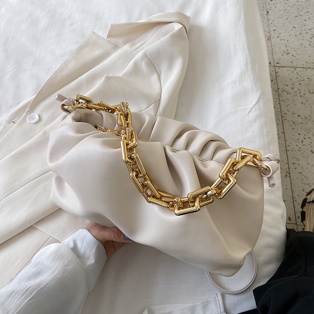 Gold Chain Leather Shoulder Bags For Women 2020 Solid Color Luxury Cloud Bag Female Crossbody Messenger Handbags Lady Party Tote