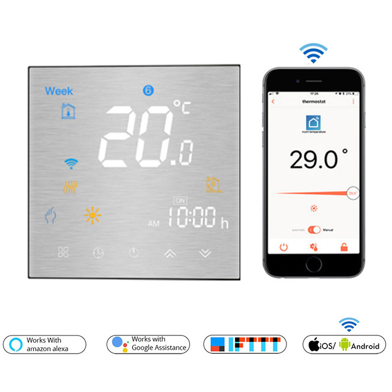 WiFi Smart Thermostat Temperature  Remote/Voice Control Controller For Water/Electric Floor Heating Water/Gas Boiler Alexa Tuya