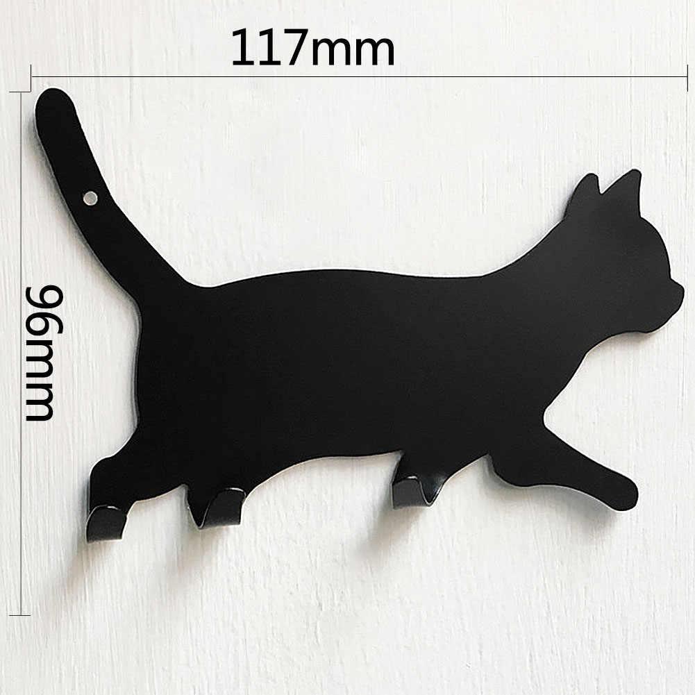 Cucina di casa In Metallo a Forma di Gatto Posteriore Adesivo Traceless Gancio A Muro Chiavi Gancio