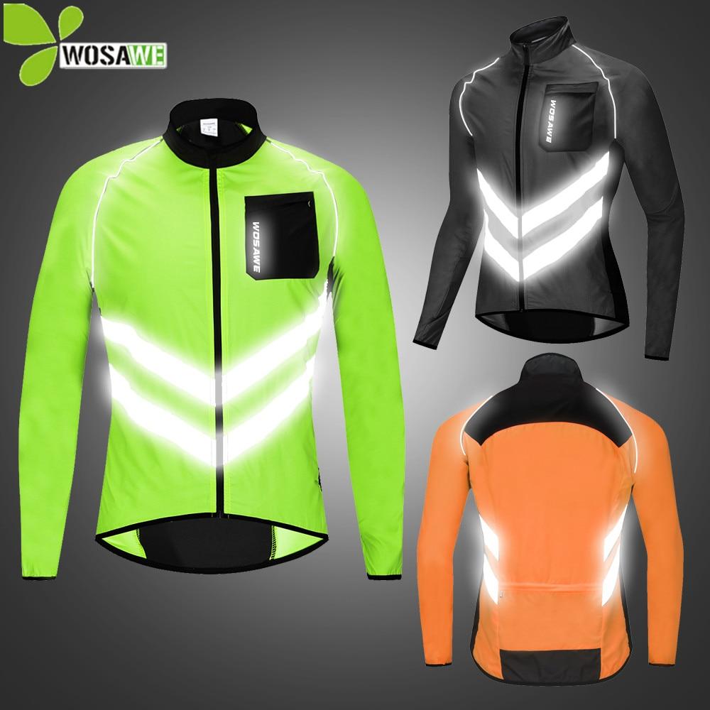 WOSAWE Reflective Cycling Jackets Men Breathable Waterproof Lightweight Rain Windbreaker Coat Bicycle Cycle MTB Bike Clothes