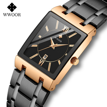 WWOOR Rose Gold Watch Women Square Quartz Waterproof Ladies Watches Top Brand Luxury Elegant Wrist Watch Female Relogio Feminino watches women luxury brand lady wrist watches square fashion woman quartz ladies magnet strap free buckle watch relogio feminino