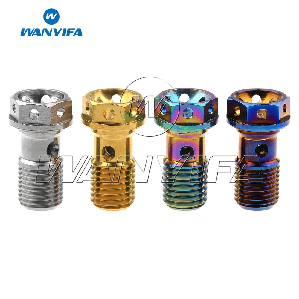 Wanyifa Titanium Bolt M10 1.0/1.25mm Pitch Hexagon Hollow Flange Head Screws for Motorcycle Brembo Brake Dual Line|Bolts| |  - title=