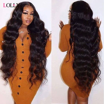 Long Brazilian Body Wave Lace Front Wig 28 30 32 34 36 38 40 Inches Lace Front Human Hair Wigs Pre Plucked Lolly Remy Lace Wig