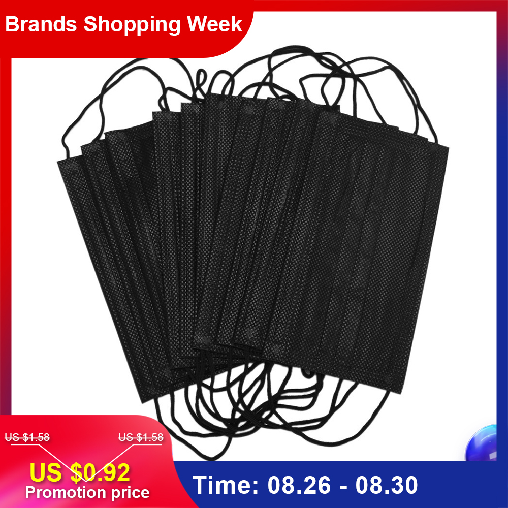 Mouth-Mask Disposable Hypoallerge 3-FILTER Black Cotton Earloop Carb Activated 10pcs