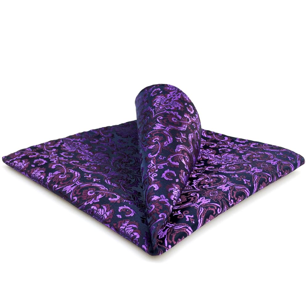 DH15 Purple Floral Mens Pocket Square Wedding Silk Handkerchief Hanky Large 12.6