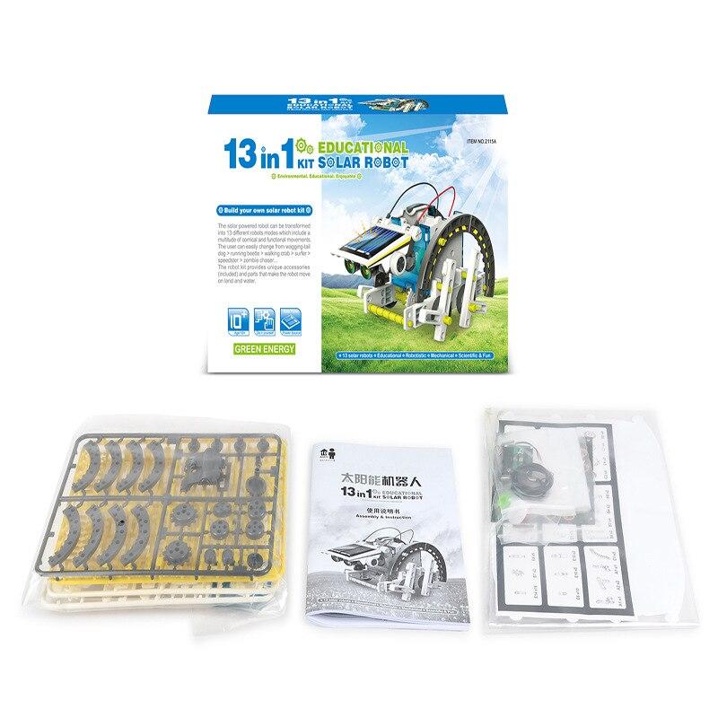 13 In 1 Solar Robot Kit Solar Robot Education Power Toy DIY Assembled Toy Car Boat Animal Building Blocks Children's Toys Gifts