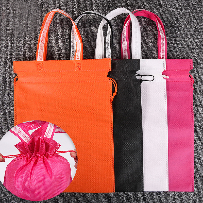 Non-woven Bag Customized Logo Print Recyclable Eco-Friendly Tote Bag Fashion Drawstring Harness Pocket