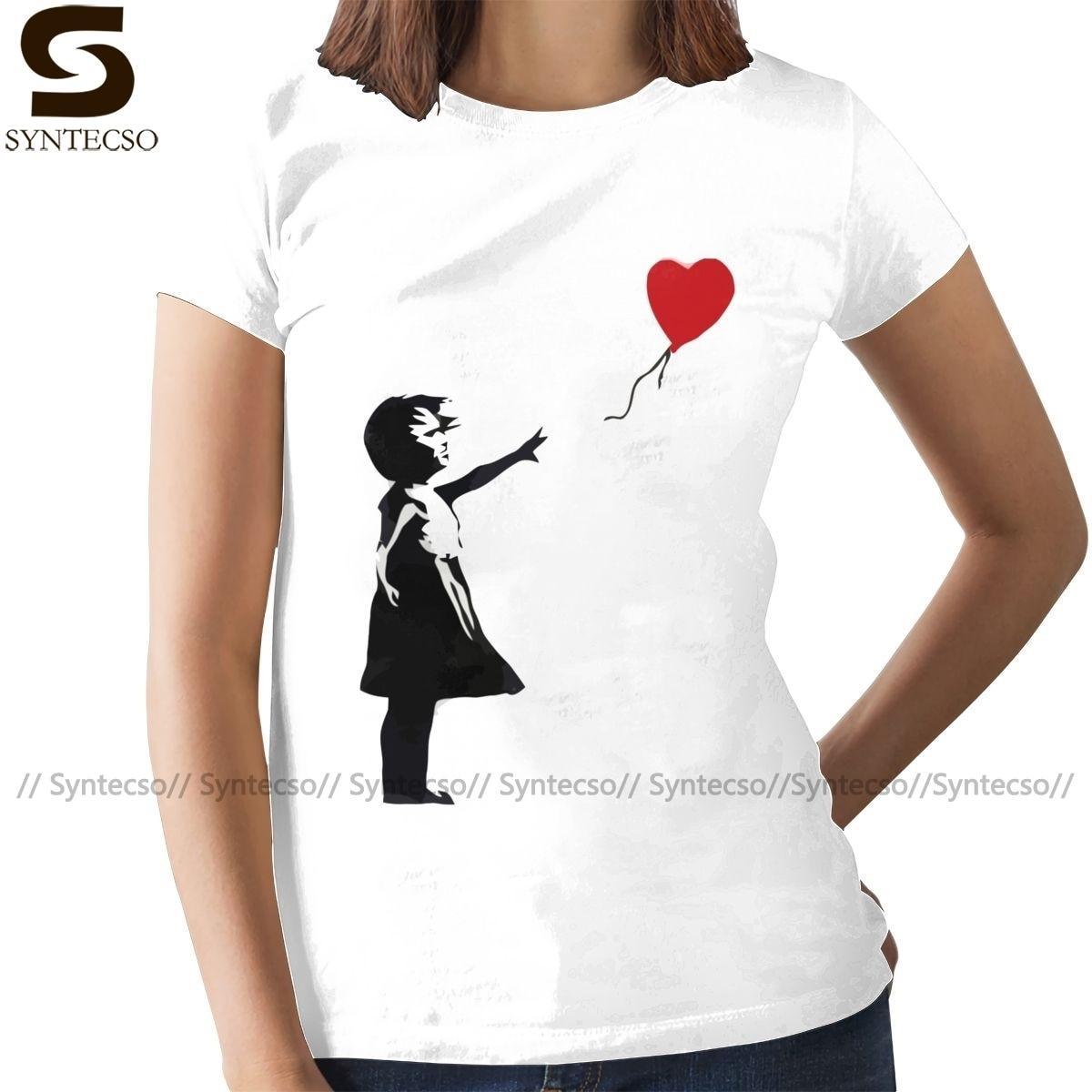 С принтом «сердце», «любовь футболка Бэнкси девушка с воздушным шаром Футболка модная фиолетовая женская футболка хлопок Графические Женс...