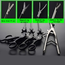 4Pcs/Set V Shaped Laparoscopic Simulation Training Instruments Needle Holder Forceps Surgery Practice Tool Educational Equipment