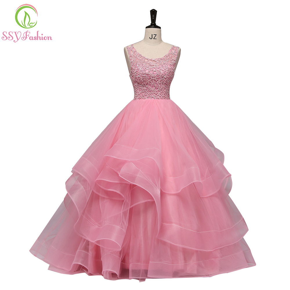 Clearance Sale Luxury Pink Lace Evening Dress The Bride Banquet Sexy Backless Floor-length Beading Long Party Formal Gown