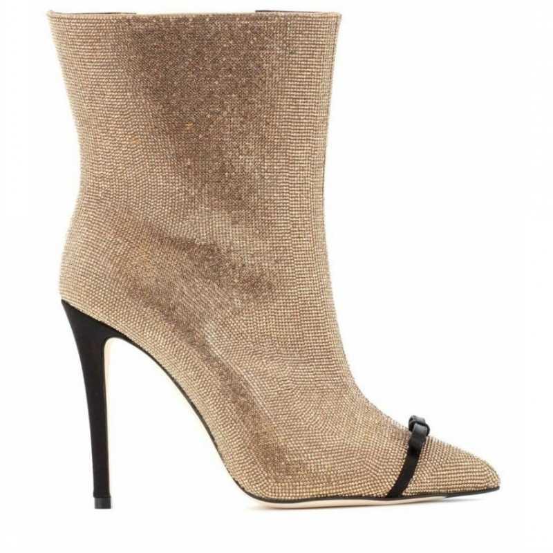 المدرج أشار تو الترتر خنجر حذاء من الجلد النساء الشتاء الكريستال القوس قصيرة أفخم الدافئة أحذية عالية الكعب حجم كبير 43 الأحذية