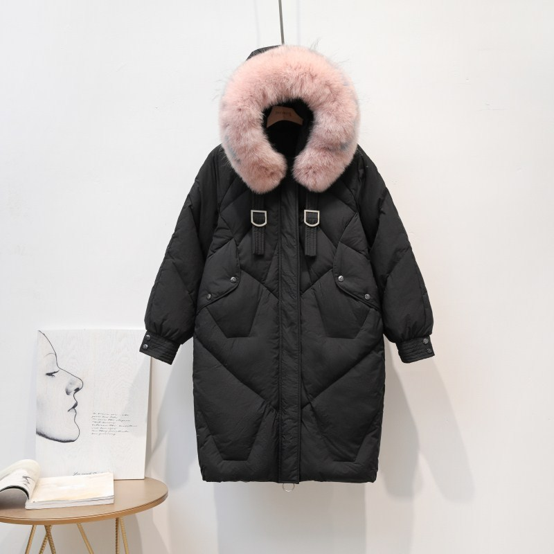 Women Coat Winter Big Fur Collar White Duck Down Jacket Women Down Coat Puffer Jacket Warm Parka Casaco 1930 YY1415