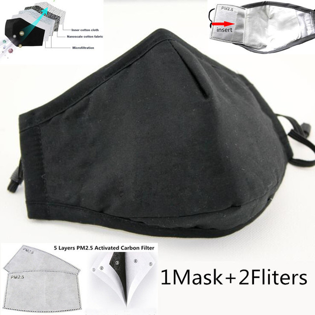 Cotton PM2.5 Black Mouth Mask Anti Dust Nask Activated Carbon 2 Filter Windproof Mouth-muffle Bacteria Proof Flu Face Masks Care