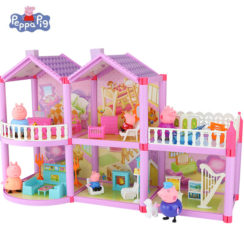 Peppa Pig Family Friends Real Scene Music Villa Model Toy Peppa Pig Doll Model House PVC Action Character Toy Gift