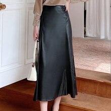 Осенне зимняя бархатная юбка средней длины годе из искусственной