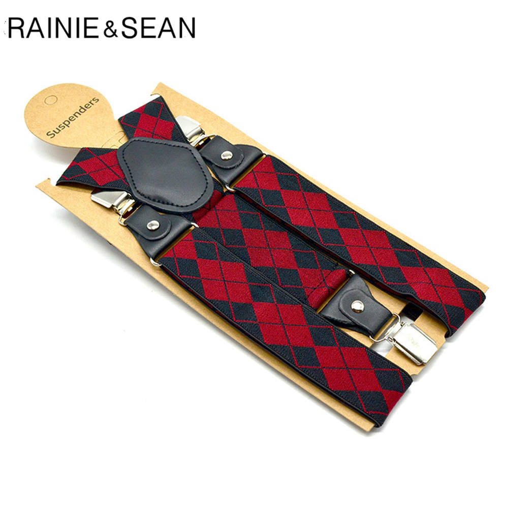 RAINIE SEAN Red Plaid Mens Suspenders Braces British Style Adjustable Y Back Suspender Belt 3 Clips With Leather Male Braces