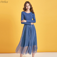 ARTKA 2019 Autumn Winter New Women Dress Elegant Mesh Stitching Knitted Dresses O Neck Slim Long Sleeve Dress Women LB10290Q