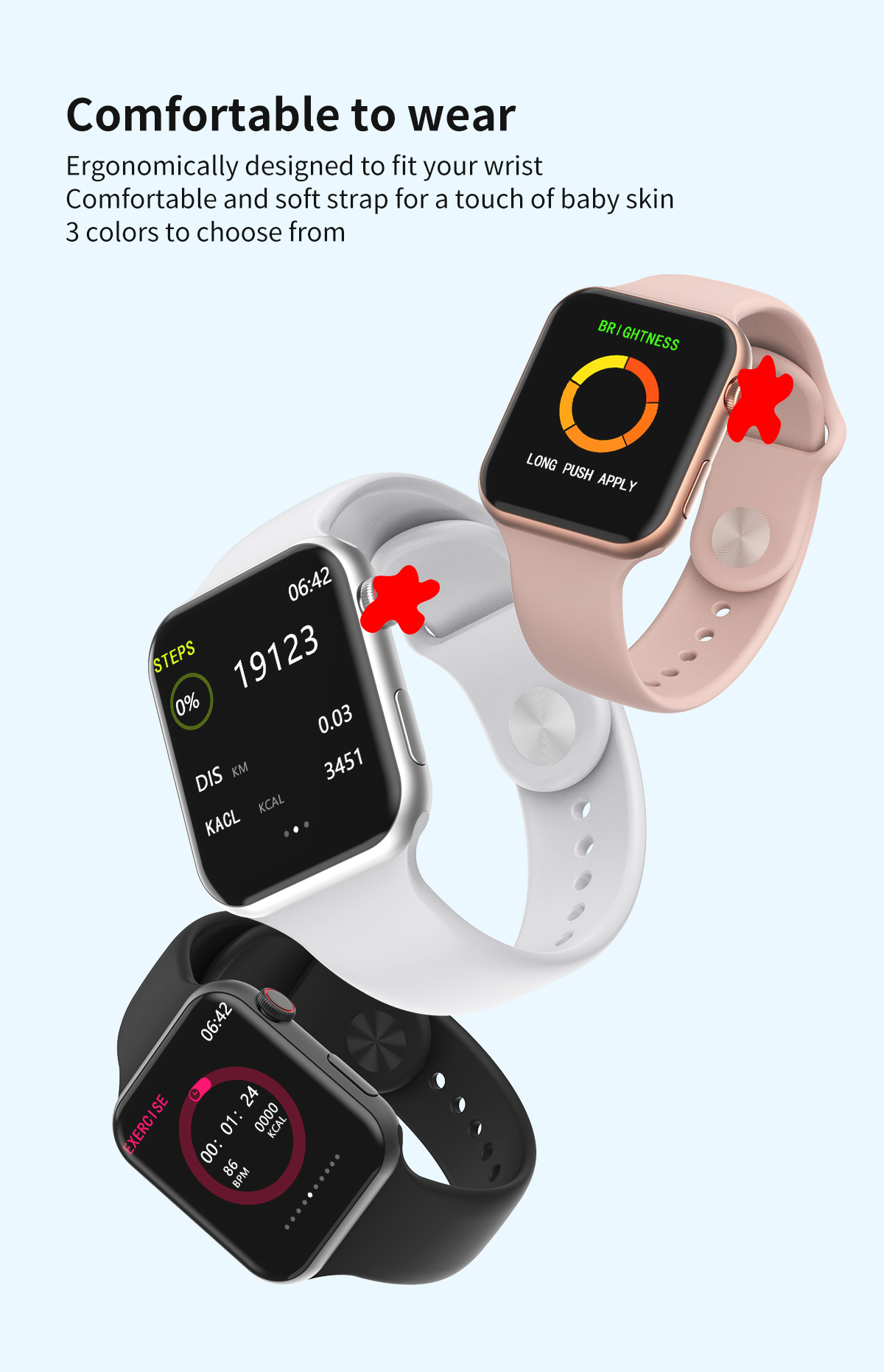 H2ebfb39738d74322bc3515df9a6049faH 696 New Style F10 Smart Watch Full touch screen Bluetooth Smartwatch Music Camera Heart Rate Monitor Waterproof Smart Bracelet
