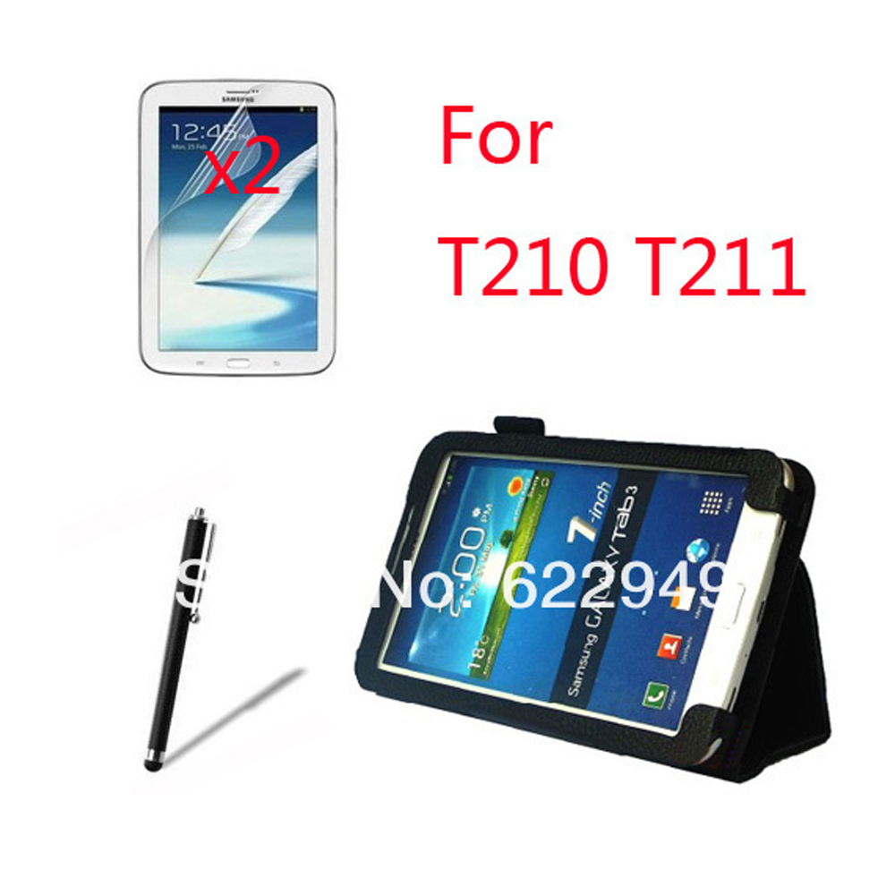 Folio Stand Leather Case Cover +2x Screen Protector Films +1x Stylus For <font><b>Samsung</b></font> <font><b>Galaxy</b></font> <font><b>Tab</b></font> <font><b>3</b></font> 7.0 T210 <font><b>T211</b></font> P3200 7