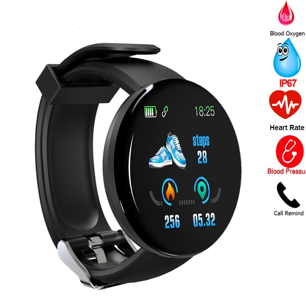 D18 relógio inteligente mulher sono rastreador freqüência cardíaca tracke relógio inteligente masculino pressão arterial esporte smartwatch oxigênio no sangue pk 116 plus m4