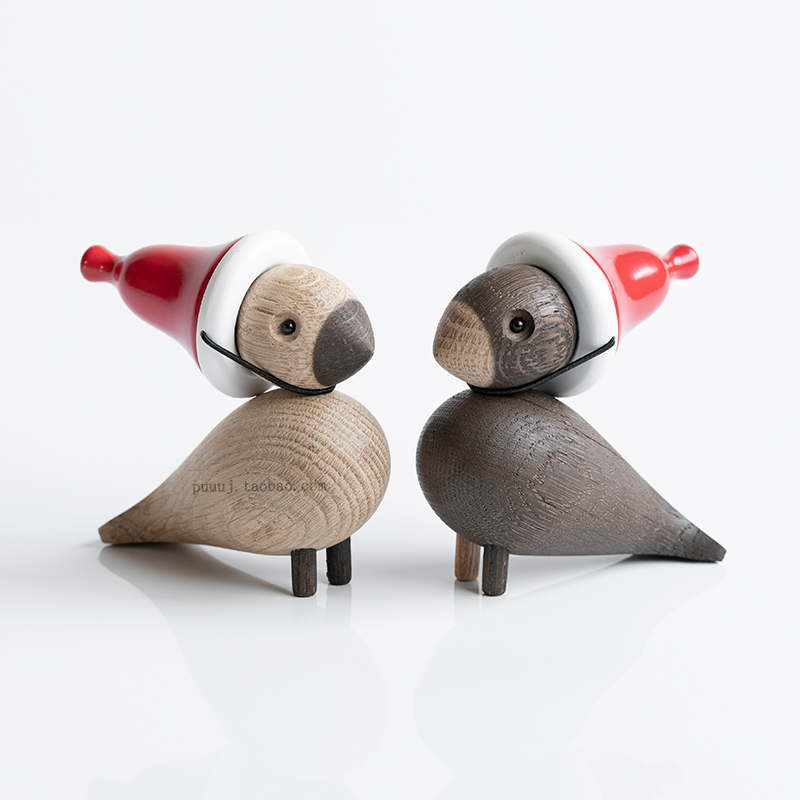 Nordic Decorative Wooden Miniature Figurines Animals Lark Bird Songbird Ornaments Fashion Home Decoration Wood Toys Sculpture