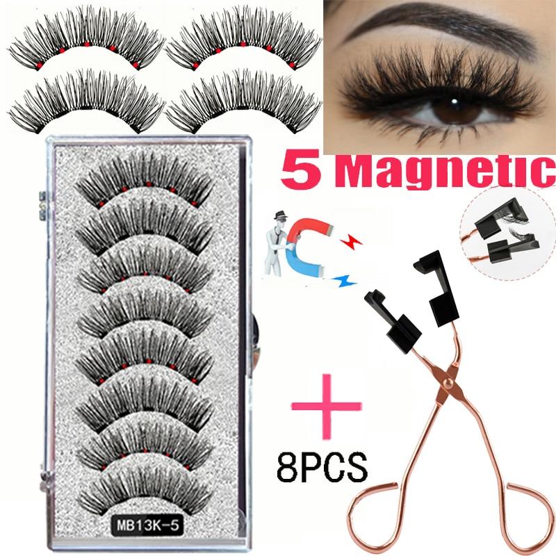 LEKOFO 8PCS 5 Magnetic eyelashes with 4 pairs magnets magnetic lashes natural Mink eye lashes with faux cils magnetique tweezers 1