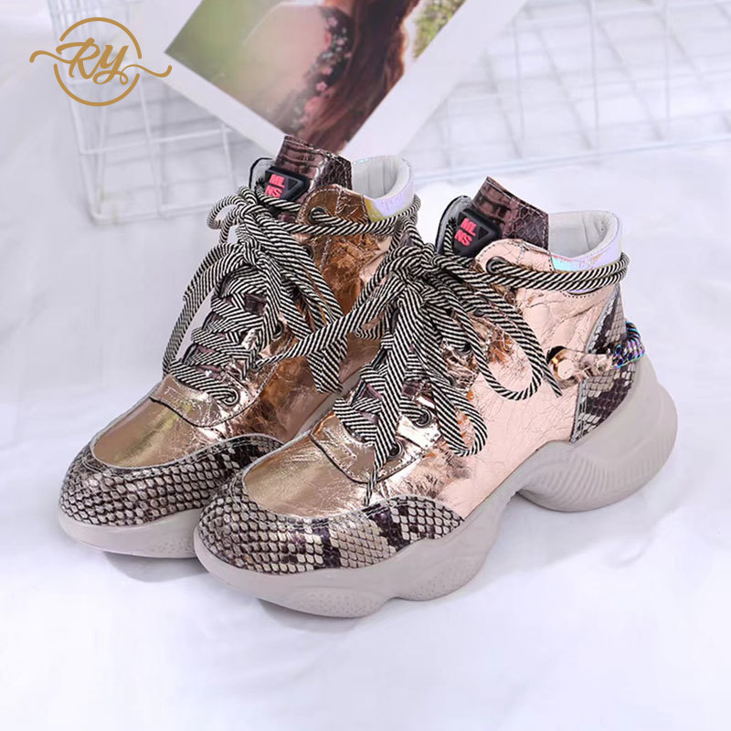 RY-RELAA Womens Sneakers 2018 High Top Sneakers INS Style Fashion Genuine Leather Platform Sneakers Women Casual Shoes Platform