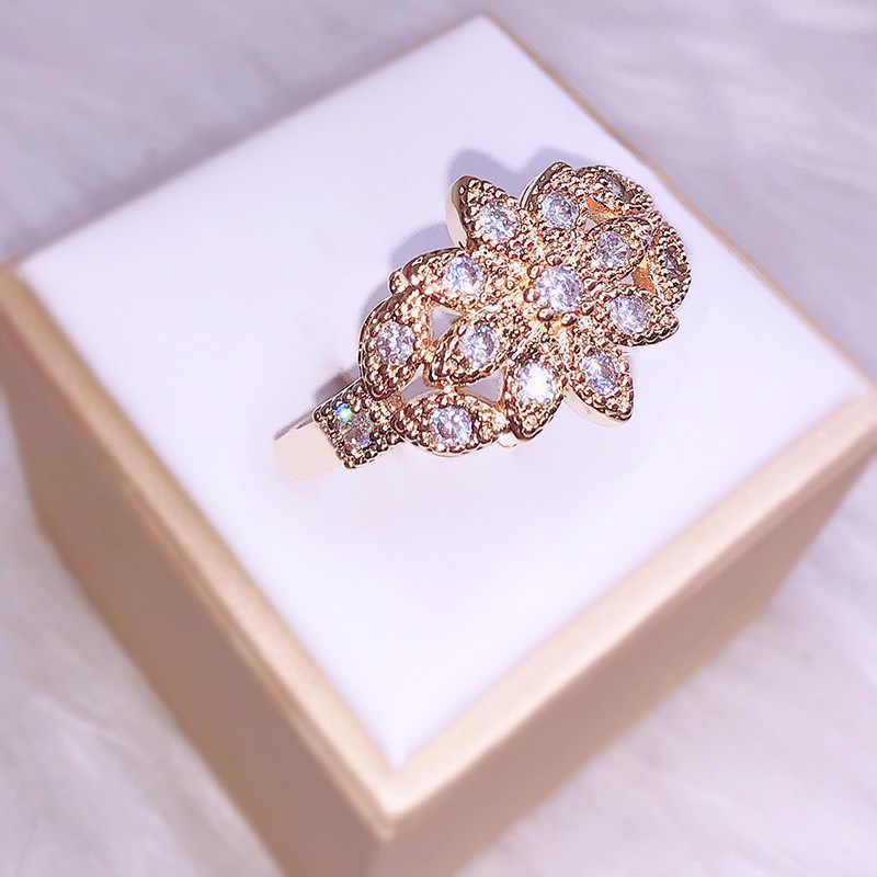 14K Gold Volledige Zirkoon Ring Voor Vrouwen Bizuteria Anillos De Bruiloft 14K Topaz Edelsteen 2 Carat Cz Diamant engagement Ring Sieraden